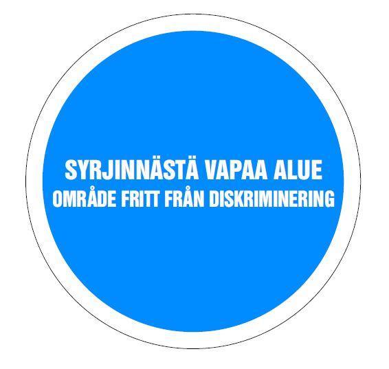 Syrjinnästä vapaa alue suomi-ruotsi logo